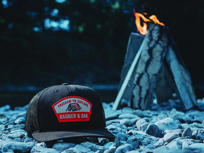 Banner and Oak Scout Hat patch outdoors hunting hiking headwear hat fishing explore camping badge adventure