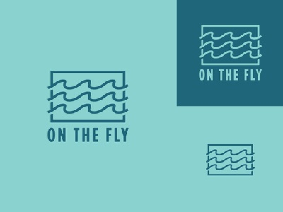 On the Fly Logo Concept thick lines logo design camping hiking waves badge apparel outdoors fishing logo identity brand