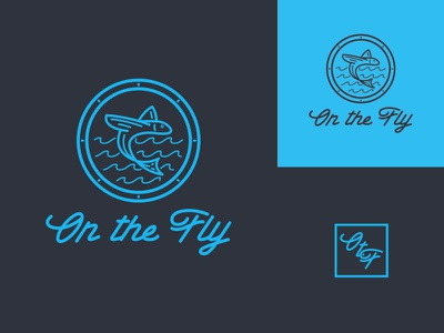 On the Fly Logo Concept 2 thick lines typography type waves outdoors design logo identity fishing camping badge