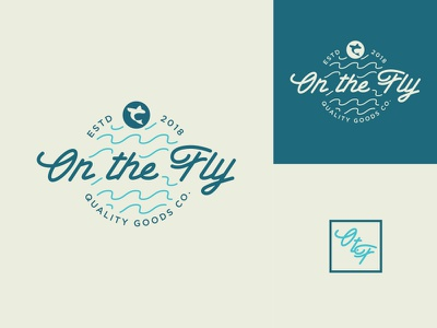On the Fly Logo Concept 3 thick lines waves typography type outdoors logo identity fishing design camping badge