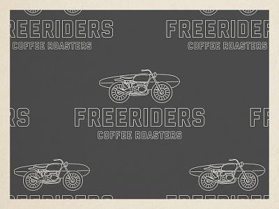Freeriders Coffee Roasters package design line art identity branding surfing motorcycle coffee illustration logo