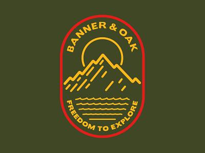 Banner & Oak Pinnacle Hat single line adventure explore illustration hat patch logo hunting badge fishing outdoors camping
