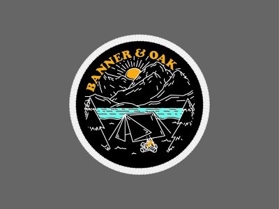 """Banner & Oak """"Pitch"""" hat adventure mountains explore illustration patch hiking badge fishing outdoors camping"""
