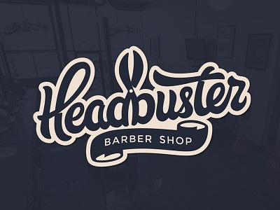 Headbuster scissors lettering razor haircut beard hair barbershop barber buster head