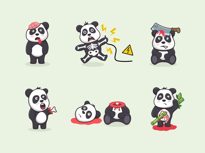 Panda character design southpaw illustration mad bad crazy bear panda logo character panda
