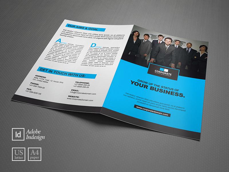 corporate bifold brochure template by layout design ltd dribbble