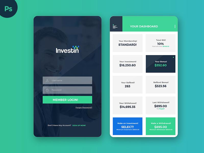 Investment mobile app ui design by layout design ltd for App layout design online