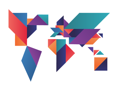 Geometric World  illustration countries country colourful tangram global conference continents world