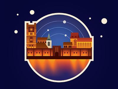 City of Copernicus - Toruń, Poland illustration buildings night poland torun city gradient space copernicus