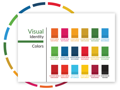Youth 4 Global Goals - Brand Book colorful circle rgb cmyk palette identity colors book brand