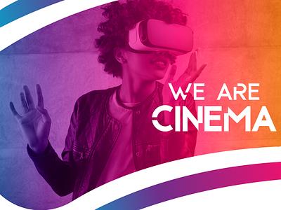 We Are Cinema - Virtual Reality typography gradient logo vr reality virtual cinema