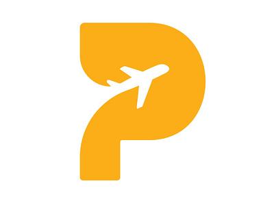 Pull Trip Logo p icon p monogram fly travel agency travel plane trip p logo