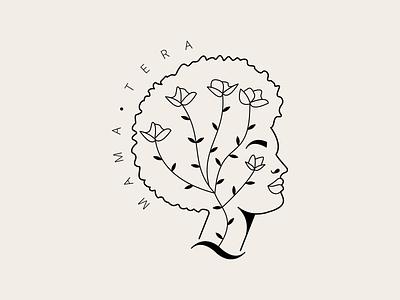 Mama Tera plant header logo illustration logo illustrator cosmetic logo logodesign organic logo hair hair care cosmetic organic african illustration logo minimal negro head afro branding design
