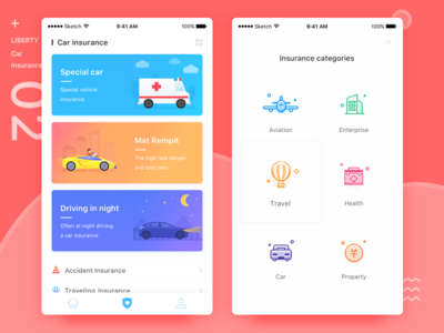Liberty insurance illustrations insurance categories car insurance user interface coins pink ui design app ui