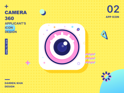 Camera App icon queble queble solutions branding logo darrenwan camera icon yellow memphis app icon