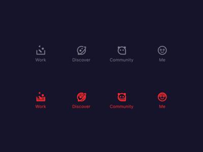 Icon tab bar darren logo darrenwan app icon branding me community discover work icon
