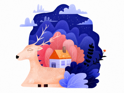 Dream Fawn texture town noise nature fawn weather ux ui design darren hiwow illustrations