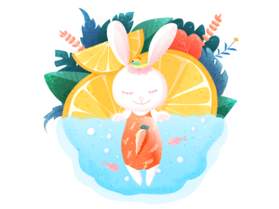 Swimming rabbit carrots orange texture swimming noise nature rabbit ux ui design darren hiwow illustrations