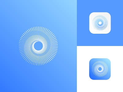 Logo Mark / App Icon - Skin Hydration dermatique for skin care center beauty cosmetic logo artificial intelligence blue and white transition skin health icon app icon vision eye logo modern abstract logo line minimal icon graphic design clean minimalistic identity mark branding logo
