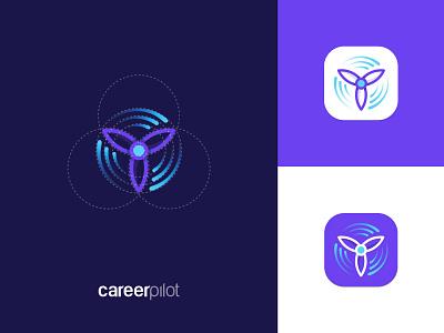CareerPilot App Icon icon app icon transition modern abstract science travel app movement purple propeller airplane plane minimal graphic design minimalistic identity mark branding logo