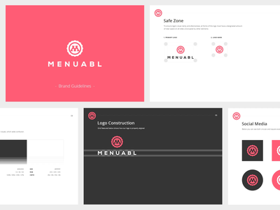 Menuabl Brand Guide pink company branding visual identity guidelines logo project color palette typogaphy brand and identity style guide brand guidelines brand book stationery presentation minimalistic brand guide graphic design clean identity branding logo