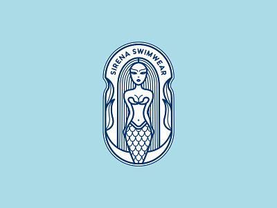 Sirena Swimwear sea ocean water modern vintage beauty logo naked girly women empowerment clothing label fashion brand clothing brand line art logo girl illustration sirena mermaid marmaids beach wear swimwear graphic design identity branding logo