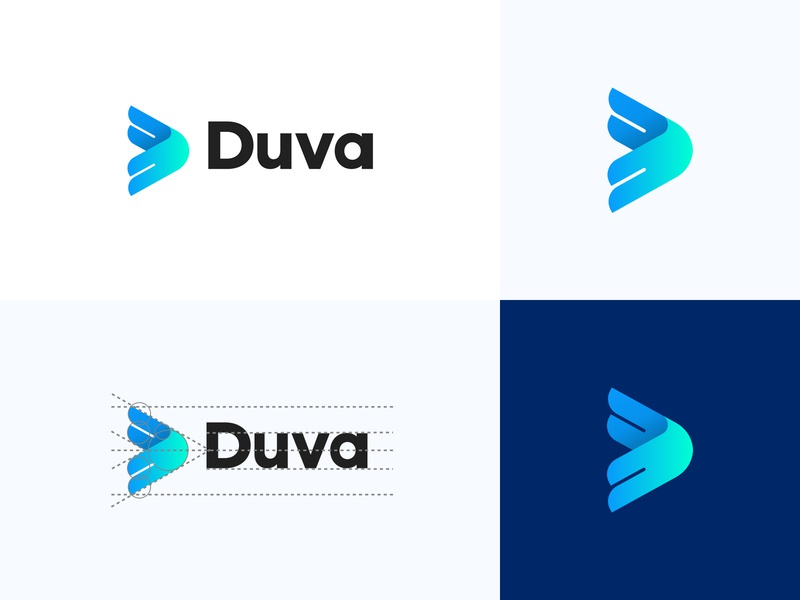 Duva - D Logo Design finance air sky wind fly logo eagle logo d logo minimal symbol clean flat design abstract logo gradien colorful transparency smart geometric logo icon bird animal logo medical technology ai logo development developement movement wing logo graphic design identity mark branding logo