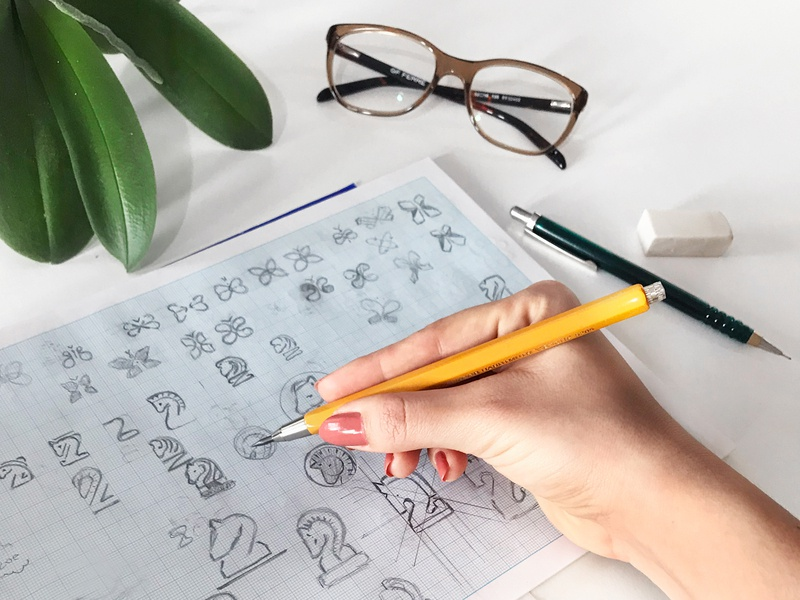 Sketching ideas sketchbook line art butterfly logo animal logo discovery exploration drawings horse logo sketches hand drawn illustration graphic design identity mark branding logo