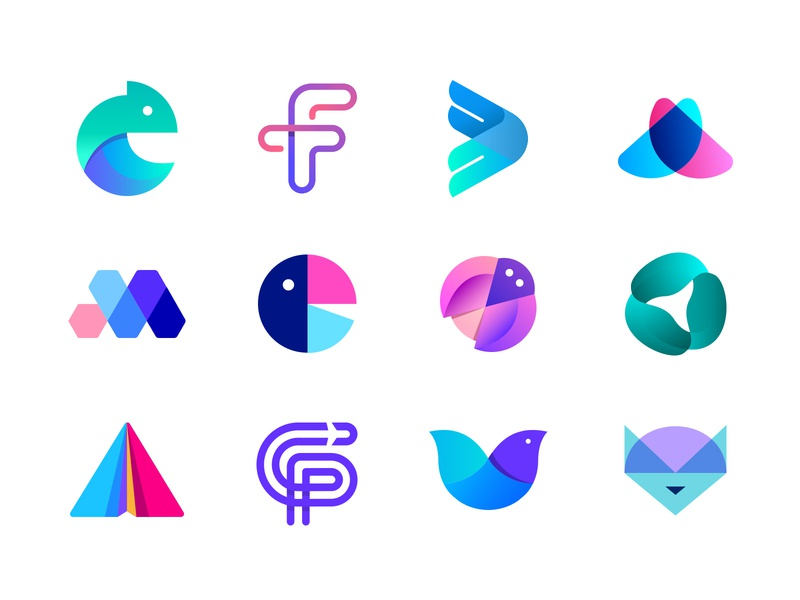 Colorful Logo Marks - LogoLounge Book 12 logo collection technology geometric design smart flat organic animal logo symbol icon abstract logo transparency gradient vibrant modern abstract colorful branding graphic design minimalistic identity mark logo