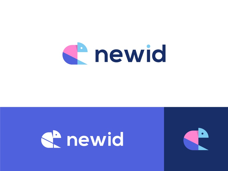 Newid - Logo Design - Chameleon pink and blue technology finance logo mark symbol app icon studio agency development colorful vibrant modern futuristic digital abstract logo geometric logo animal logo chameleon organic graphic design minimalistic identity mark branding logo
