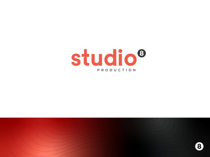 Studio 8 Production - Logo Design red custom font negative space logo gradient modern billiard consulting snooker education finance agency 8 lettermark logo custom typography production studio graphic design minimalistic branding logo