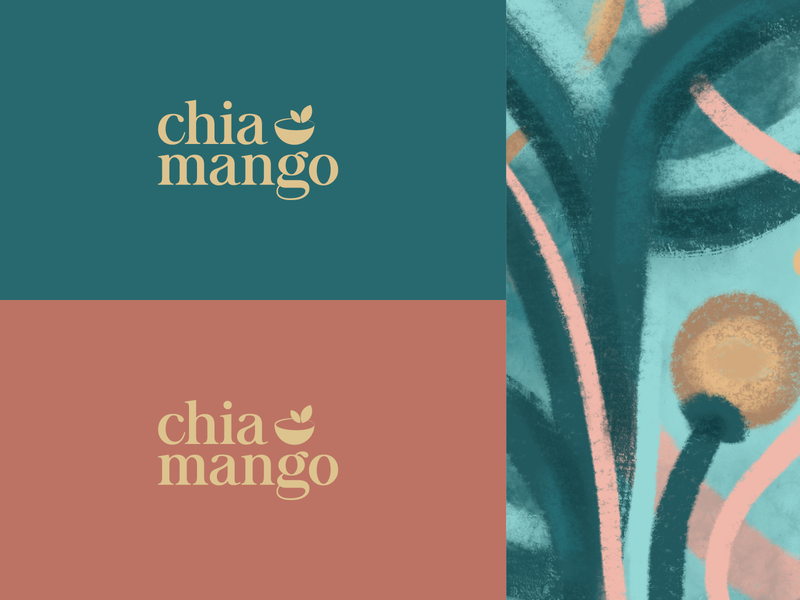 Chia & Mango - Organic Foods, Cafe sustainable organic food bowl acai healthy pattern farm natural green copper gold typogaphy identity illustration cafe branding vegetarian vegan green leaf cafe caffee coffee organic minimalistic mark branding logo