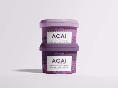 Huckleberry Acai - Packaging Design frozen food eco friendly leaf label clean elegant healthy wordmark berries pattern design illustraion graphic design food packaging natural vegan vegeterian sorbet ice cream packaging design acai minimalistic branding logo