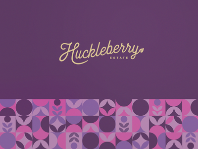 Huckleberry Logo and Geometric Pattern Design ice cream sorbet fruit abstract shapes natural leaf acai blueberry vegan eco friendly label product packaging design elegant simle minimal clean geometric pattern pattern design wordmark organic illustration graphic design minimalistic branding logo