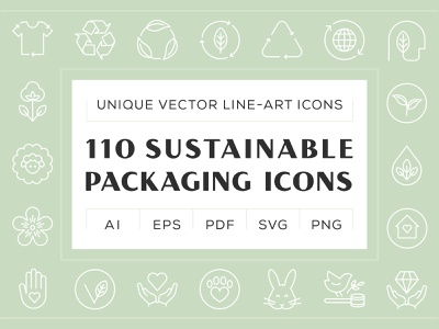 Sustainable Packaging Icons iconset illustrator bundle digital product sales purchase editable diet nutrition food icons cosmetics organic natural cosmetics vegan eco green line art packaging sustainable icons iconography icon design icon set vector