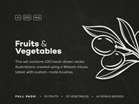 Fruits & Vegetables Hand-drawn Icons