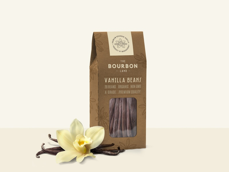 The Bourbon Land - Packaging cream brown spice vanilla simple design natural clean grapgic design label hand crafted nature farm packaging design branding organic vintage minimalistic logo