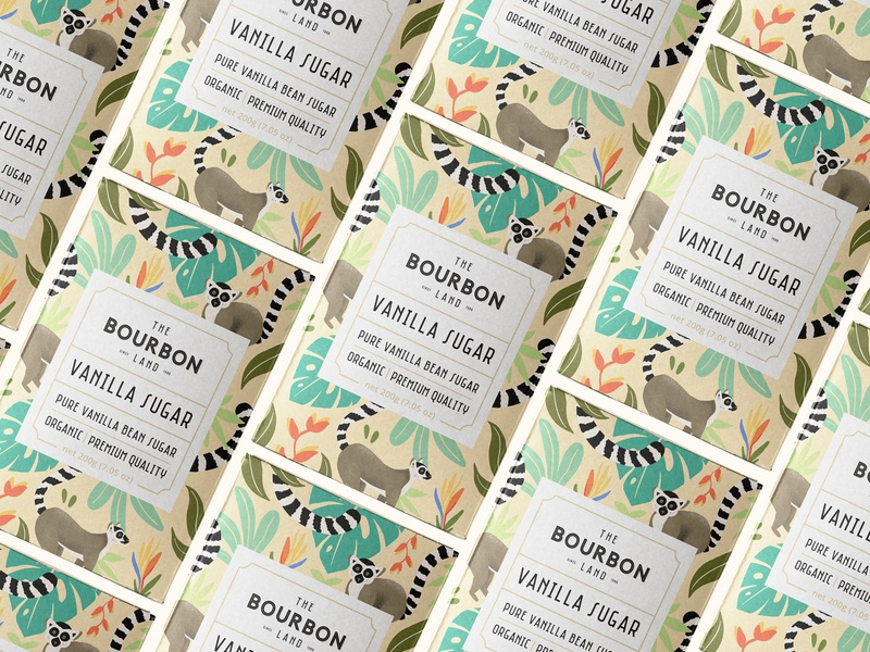 The Bourbon Land - Vanilla Sugar - Packaging cafe branding sugar animal leaves tropical lemur procreate art ipadproart pattern art label and box design caffè farm organic food vintage drawing identity logo packaging design coffee illustration