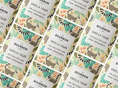 The Bourbon Land - Vanilla Sugar - Packaging cafe branding sugar animal leaves tropical lemur procreate art ipadproart pattern art label and box design caffè farm organic food vintage drawing identity logo packaging design coffee illustration
