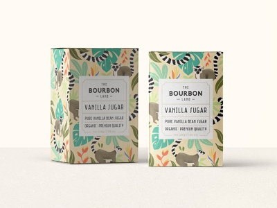 The Bourbon Land - Vanilla Sugar - Packaging coffee caffee pattern procreate leaves tropical animal vintage graphic design organic food farm sugar label and box design branding illustrator lemur packaging logo vector illustration