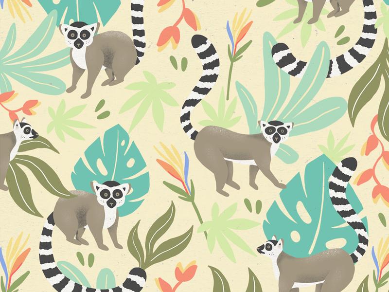 The Bourbon Land - Pattern packaging procreate texture cafe coffee illo illustrator organic farm animal lemur background pattern wallpaper tropical leaf jungle branding drawing pattern illustration