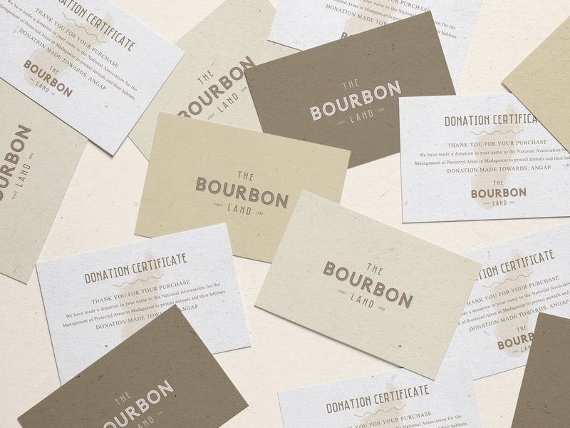 The Bourbon Land elegant simple business card business and finance corporate brand identity organic typography minimalistic logo branding visual identity print graphic deisgn business brochure business card donation certificate