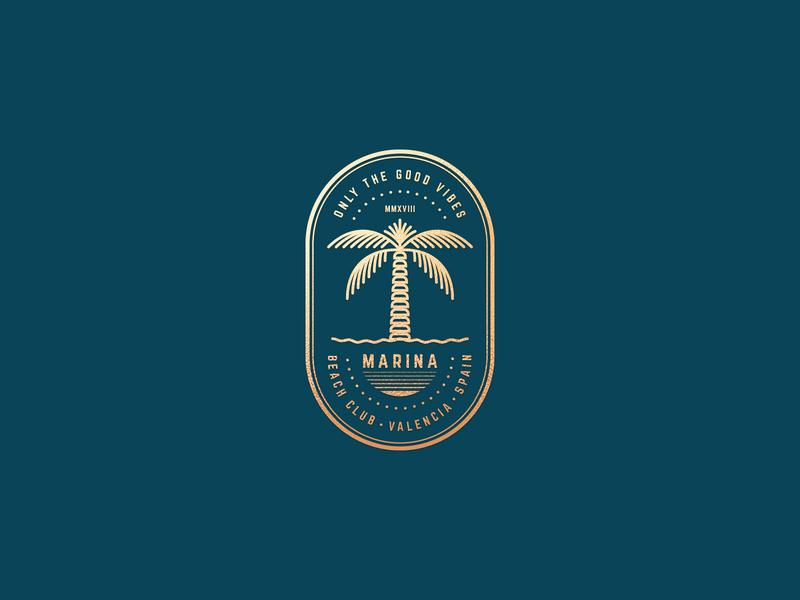 Marina Beach Club badge summer vibes sea tropical restaurant seafood caffe line art vintage palm leaf beach club beach bar palm tree identity graphic design minimalistic mark illustration branding logo