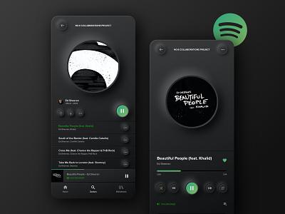 Neumorphic Spotify dark app ui design ui app app design music app spotify neumorph neumorphism neumorphic skeuomorphism skeumorphism skeuomorphic skeuomorph skeumorphic dark mode