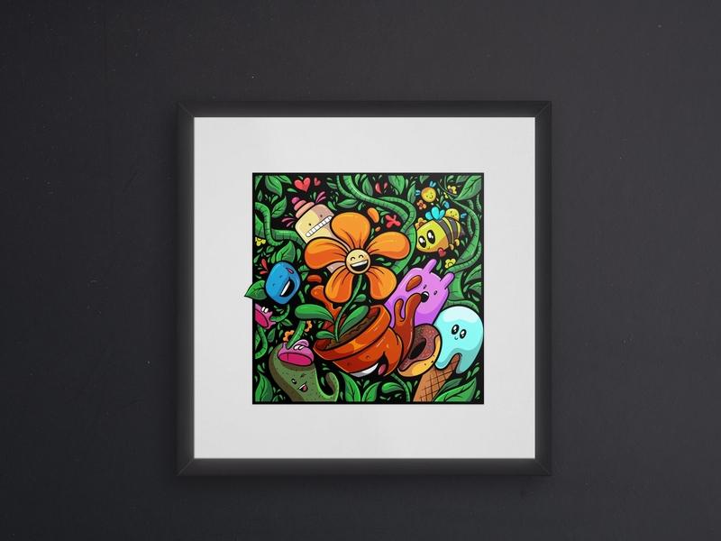 Doodle art ornamental drawing flower character cute green vector illustration illustration doodle