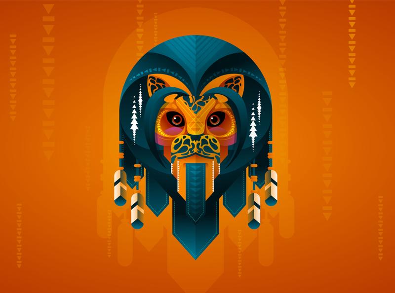 Leo Geo ornamental mummy egypt orange texture gradient flat papercut colorful detailart animal mascotlogo illustration vector geometry leo