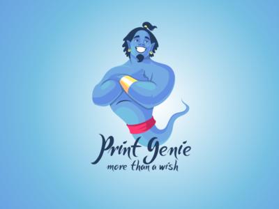 Print Genie genie icon mascotlogo character design mascot logo vector cartoon logo mascot illustration