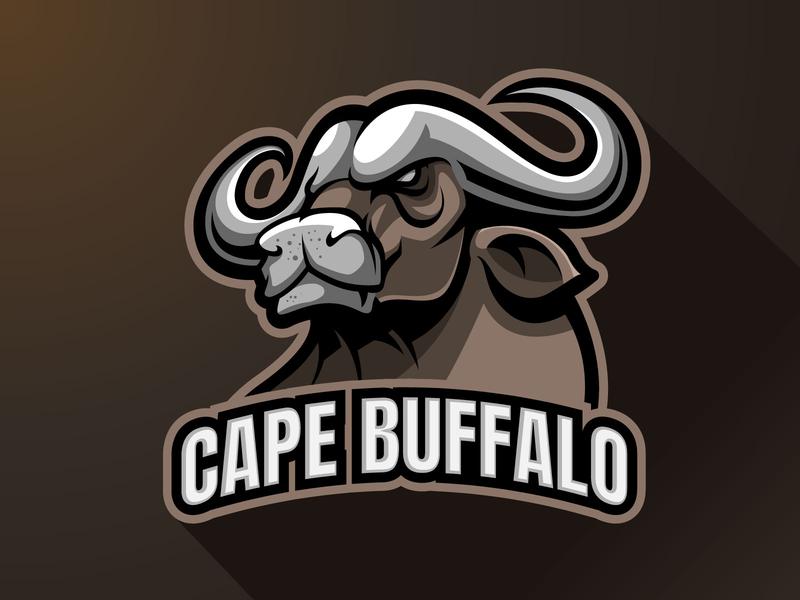 Cape buffalo Mascot logo branding mascotlogo vector team logo esports sports gaming cape character logo illustration design logo mascot animals bull ox cape buffalo