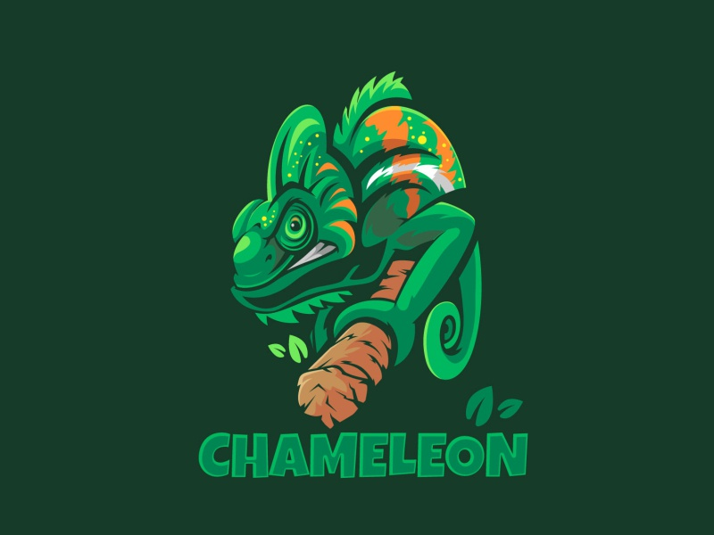 Chameleon Mascot logo illustraion green anmals character mascot logo mascot