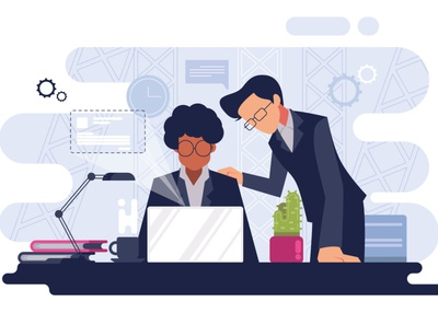 Corporate office working flat style man illustration landing page working space laptop worker office style flat flat illustration